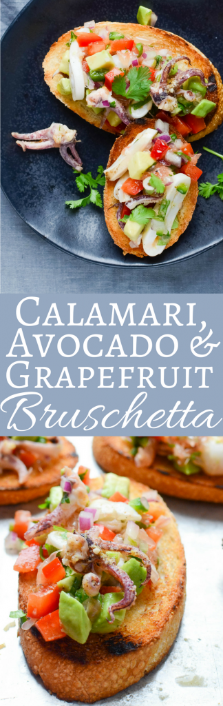 This easy seafood bruschetta recipe tastes like a trip to Mexico with grilled calamari, avocado and tangy grapefruit on toasted bread! Great with a Margarita!