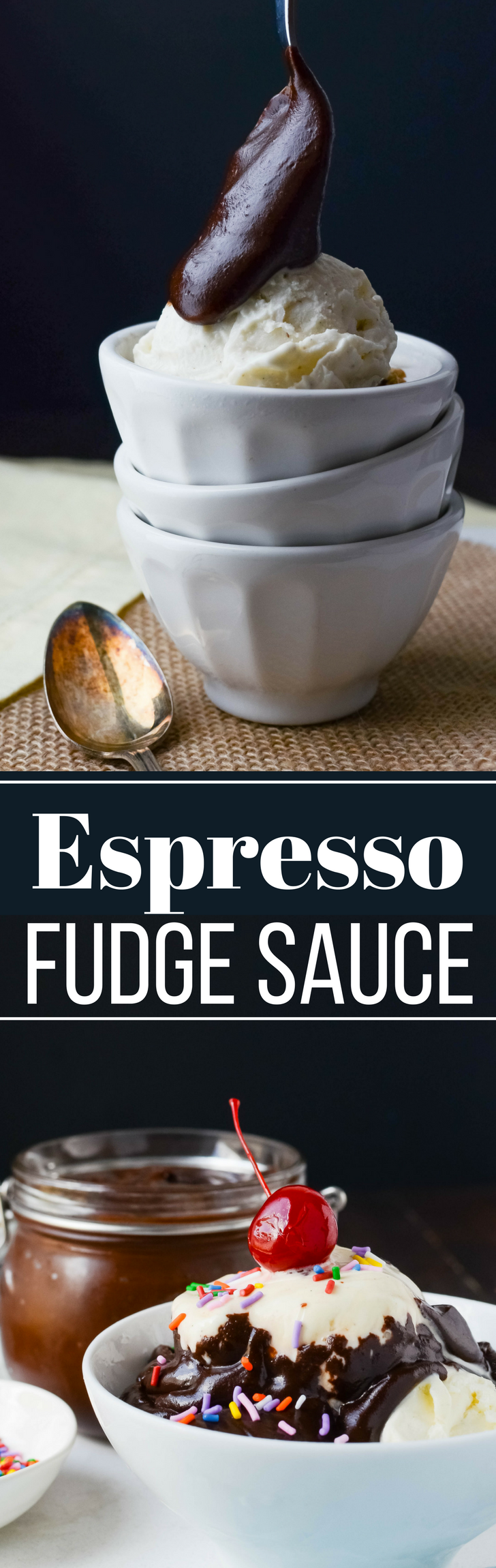 This foolproof fudge sauce recipe has a hint of coffee for depth.  Espresso Fudge Sauce is what you want on a scoop of vanilla!