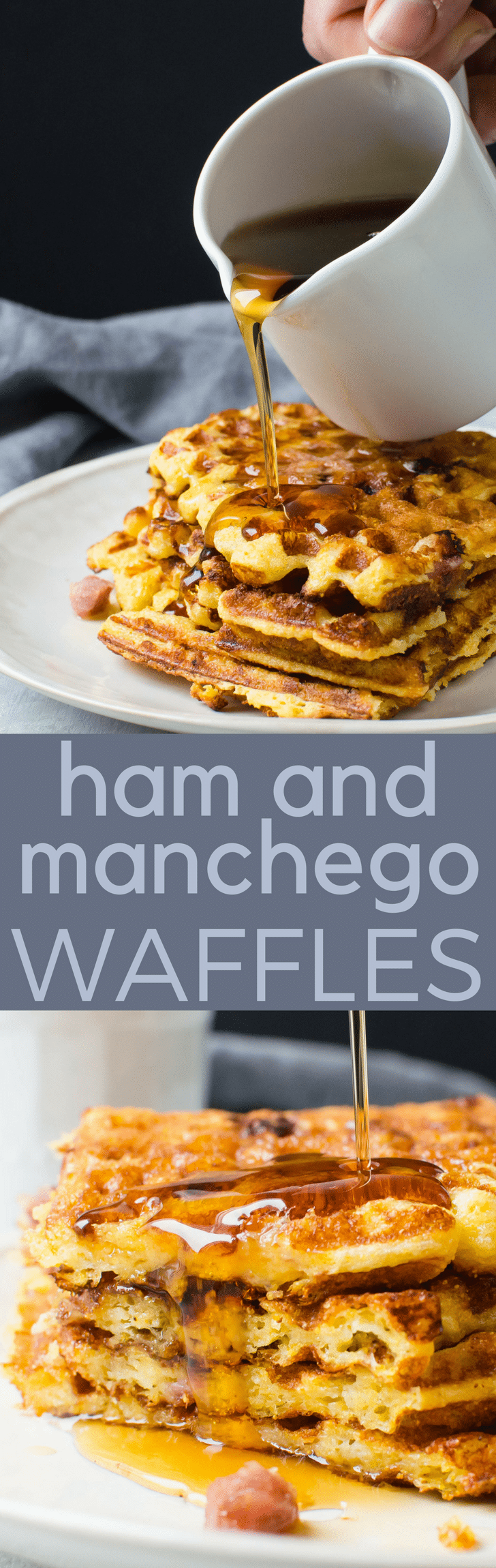 A sweet and savory buttermilk waffle recipe with cornmeal, manchego cheese and diced ham, this breakfast and brunch treat is made for the weekend! Ham and Manchego Waffles are easy to make, too. #waffles, #breakfast #brunch #sweetandsavory #sweetbreakfastrecipe #savorybreakfastrecipe #ham #manchego #cornmealwaffles #buttermilkwaffles #buttermilkwafflerecipe #cornmealwafflerecipe #syrup #breakfastfordinner