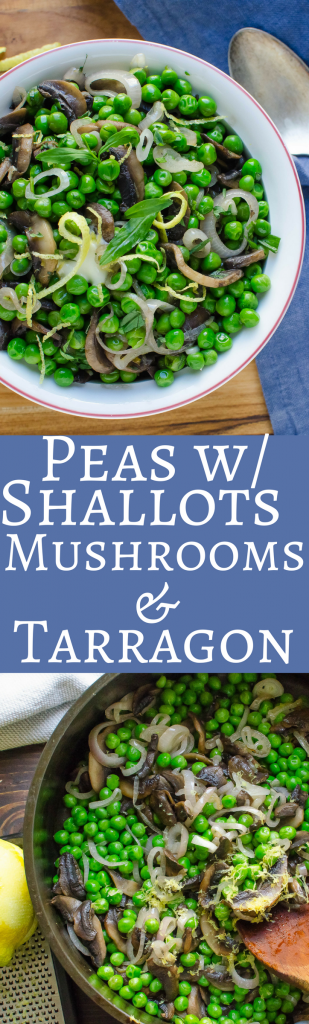 Need an easy recipe to dress up frozen peas?  This delicious side is ready in about 15 minutes! #vegetarian #sidedish #vegetables #peas #mushrooms #lemon #tarragon #peasandmushrooms #vegetariansidedish #easysidedish #healthysidedish #onepan #onepanrecipes #herbs #freshherbs #frozenpeas #quicksides #easypearecipe