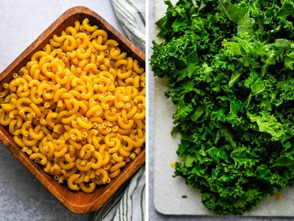 dried pasta and chopped kale before cooking the kale mac and cheese.