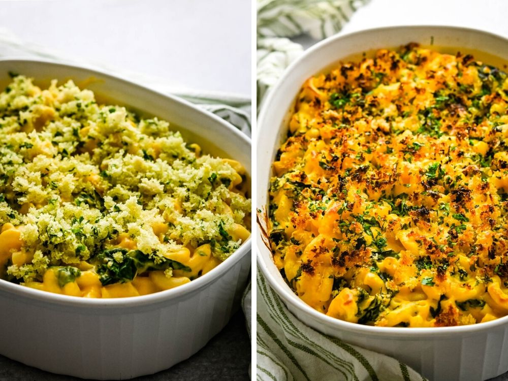 Topping the kale mac and cheese with breadcrumbs and baking.