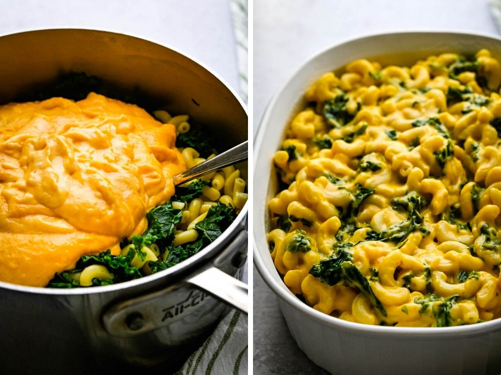 Mixing cheese sauce with pasta for the kale and butternut squash gratin; layering the veggie mac and cheese in a casserole dish.