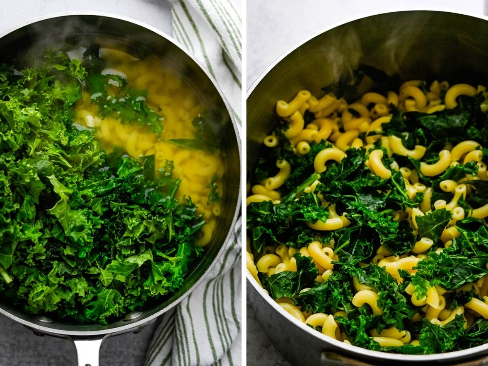 blanching the kale with the pasta for healthy mac and cheese.