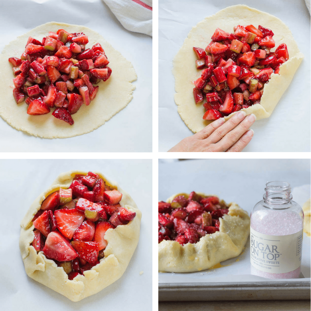 steps for forming strawberry rhubarb galettes with homemade pastry.
