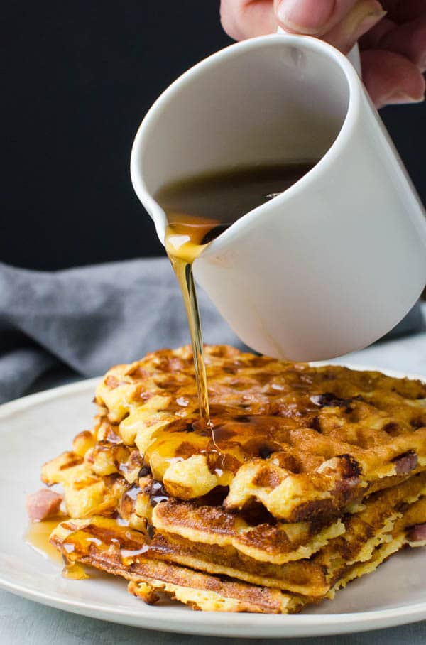 Ham and Manchego Waffles with syrup