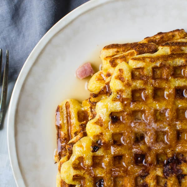 Ham and Manchego Waffles on a plate