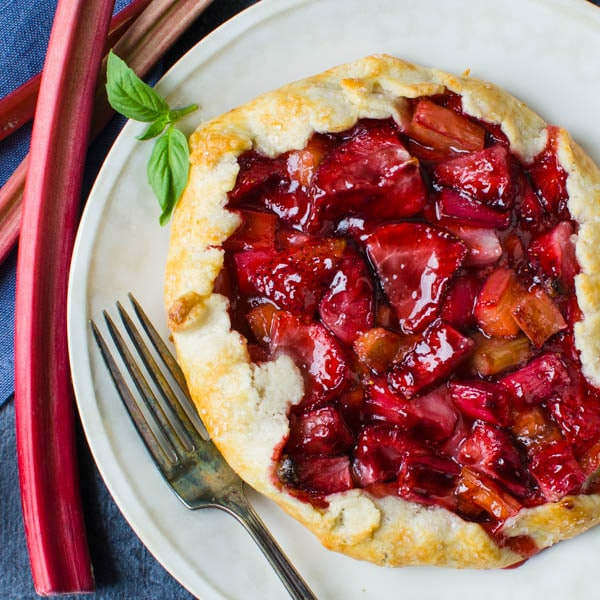 strawberry rhubarb galette with homemade pastry