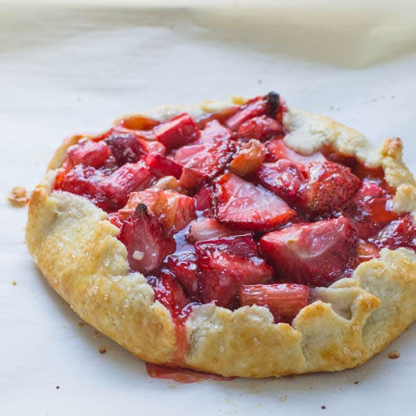 baked strawberry rhubarb galette with homemade pastry