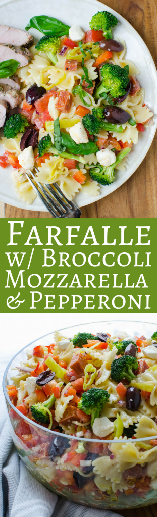 The BEST summer pasta salad recipes (no mayo) are the easiest to make! Loaded with everyone's favorite ingredients, Farfalle with Pepperoni, Mozzarella and Broccoli will be a favorite with your guests. #pastasalad #bowtiepasta #farfalle #bowtiepastasalad #farfallepastasalad #picnicfoods #picnicrecipes #picnicsidedishes #potlucksides #potluckrecipes #pastasaladnomayo #pastasaladwithpepperoni, #pastasaladwithmozzarella, #easypastasaladdressing