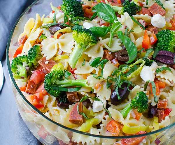 Farfalle with Pepperoni, Mozzarella and Broccoli