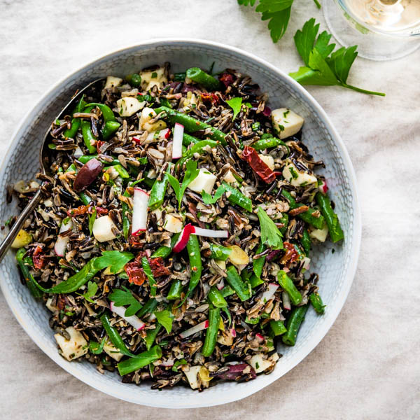 Italian Wild Rice Salad in a serving bowl.