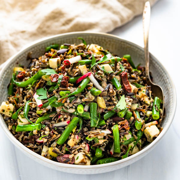 Italian Wild rice Salad with Green Beans and Sherry Shallot Vinaigrette