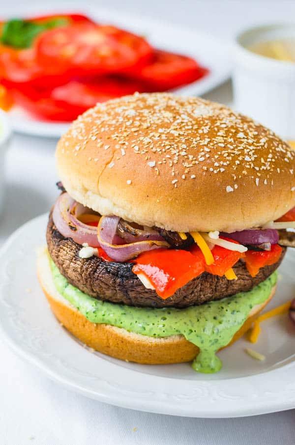 Perfectly dressed portobello mushroom sandwich