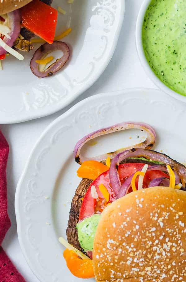 Portobello sandwiches on a plate.