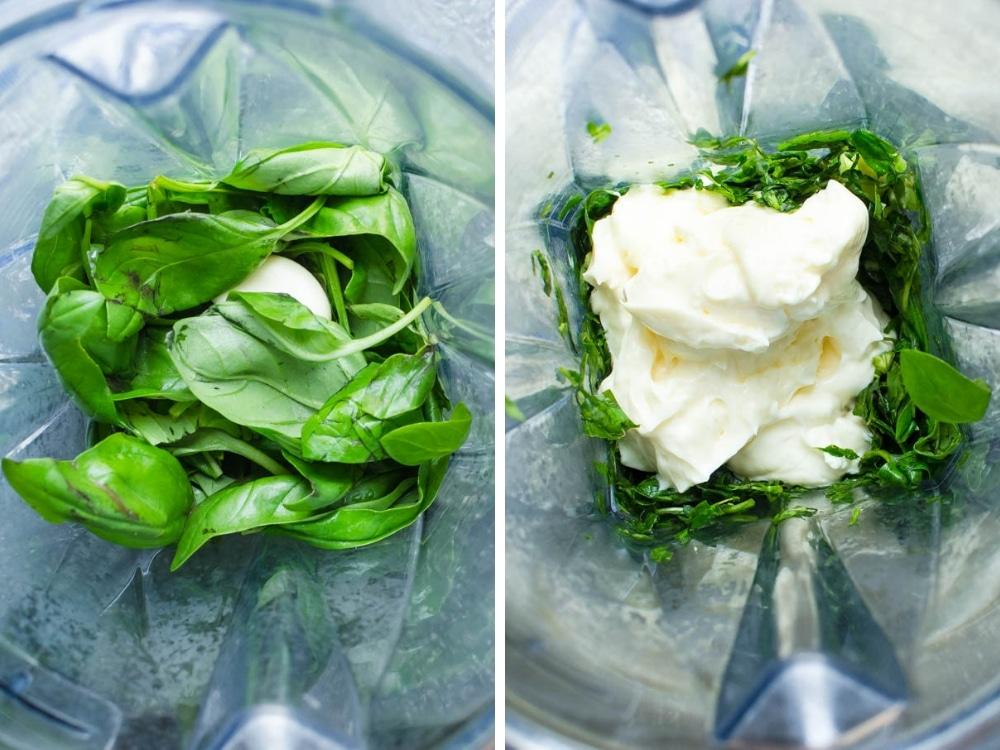 Making basil aioli in a blender.
