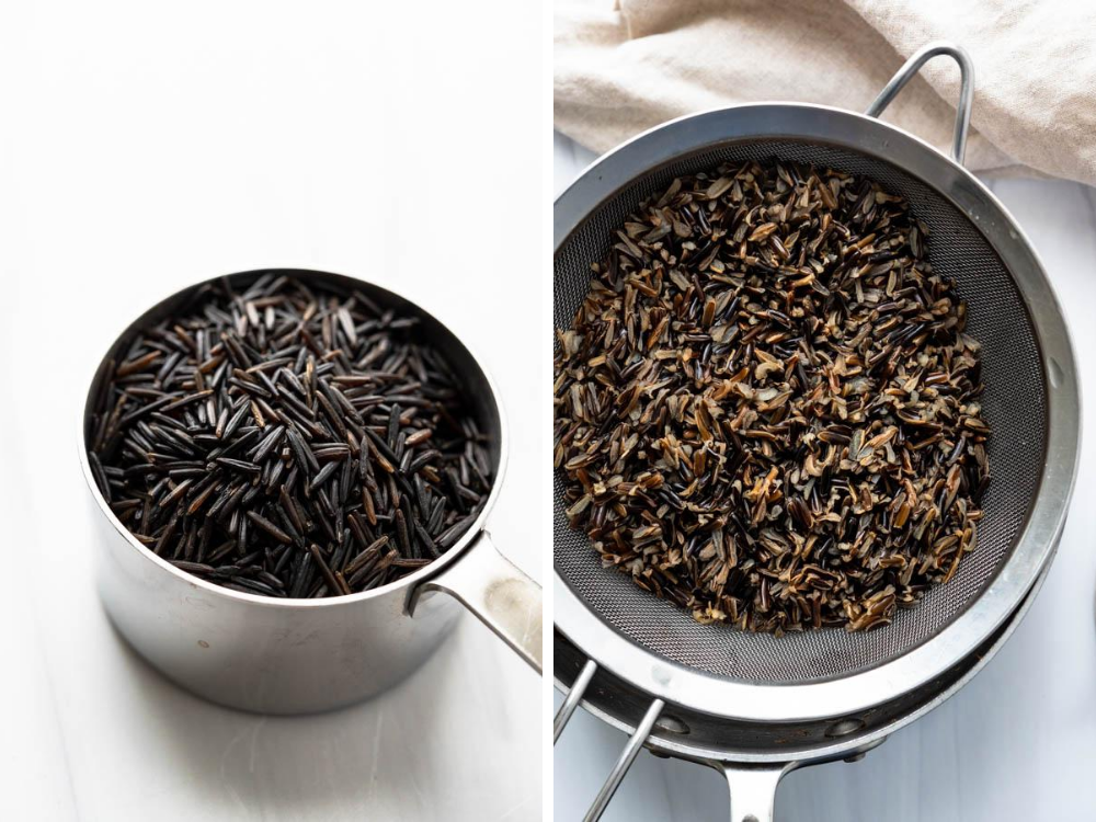 Raw and cooked wild rice (side by side).