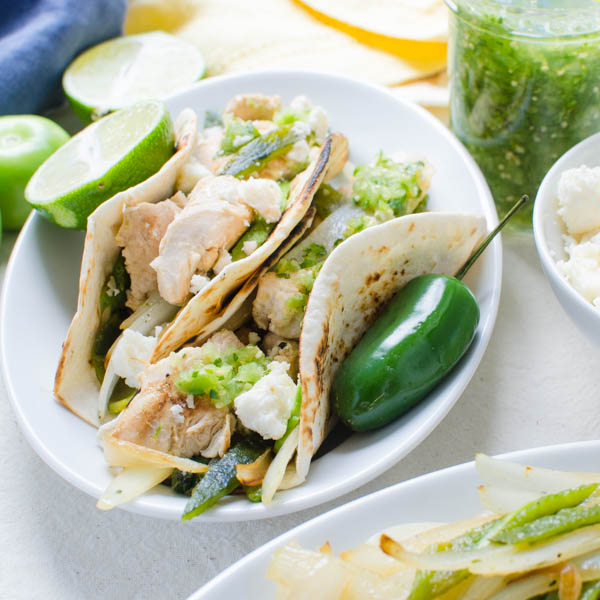 Chicken Soft Tacos with Fresh Tomatillo Salsa