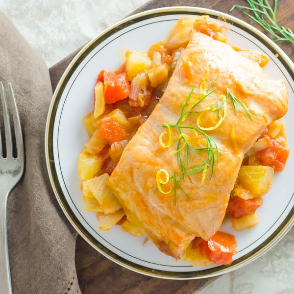 Plank-Grilled Salmon with Tomato Fennel Ragout