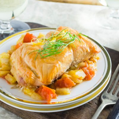plank grilled salmon with tomato fennel ragout