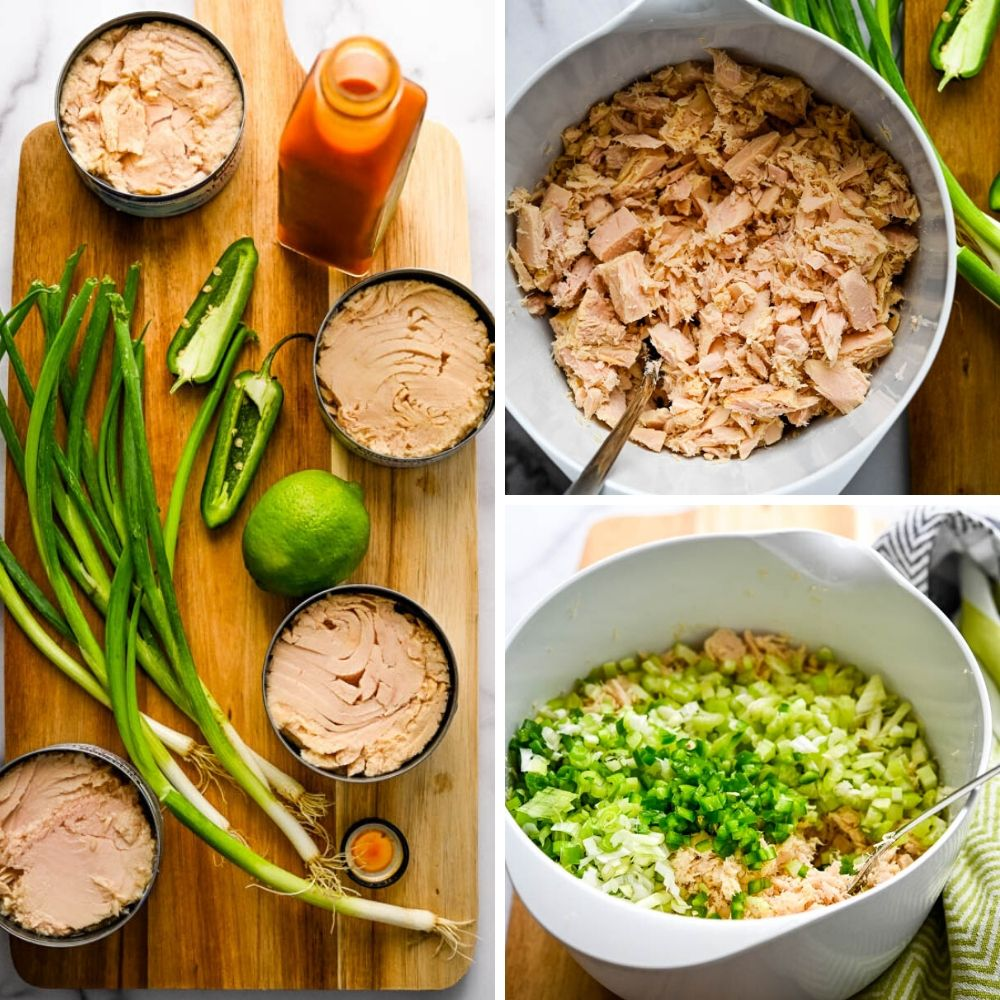 Adding celery, jalapeños and green onions to the best canned tuna salad.