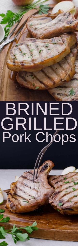 This delicious, easy pork chops recipe assures a moist, tender and flavorful chop. Brined Grilled Pork Chops with a shot of Jack Daniels Kentucky Bourbon is a real dinner treat! #porkchops #brinedporkchops #brinerecipe #howtobrinepork #bourbon #jackdaniels #brownsugar #koshersalt #pork #chops #grilling #grilled #weber #traeger