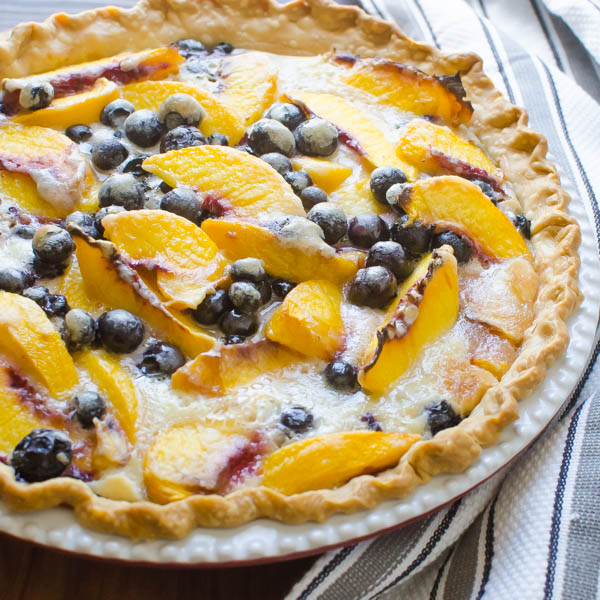 Peach Blueberry Pie with towel