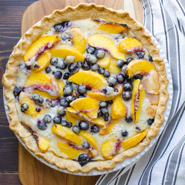 Peach Blueberry Pie on board