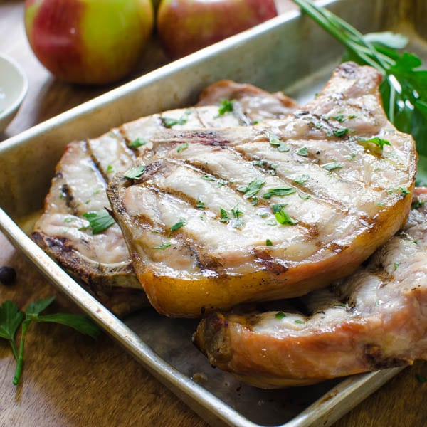 Brined Grilled Pork Chops on a pan