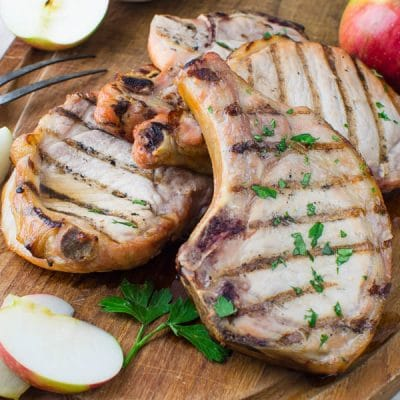 Brined, Grilled Pork Chops