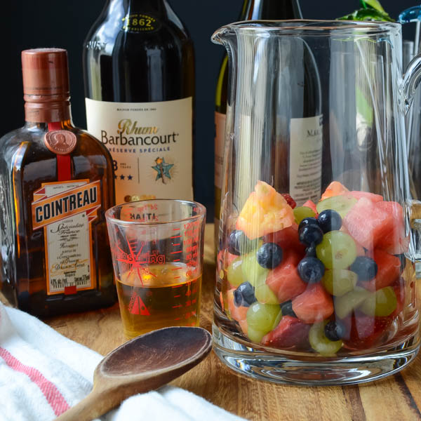 cointreau, rum, fruit in a pitcher.