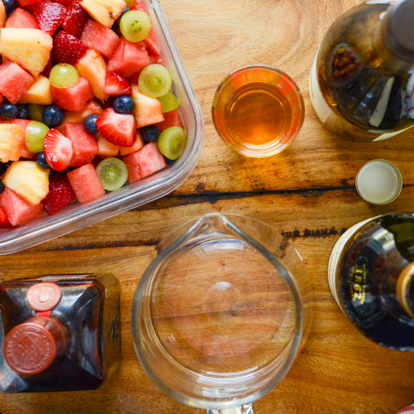 fruit salad and liquors.