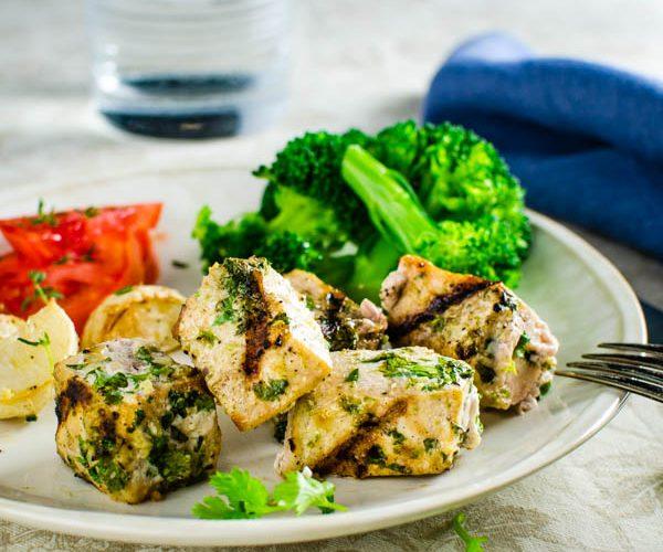 Easy Cilantro Lime Grilled Fish Kebab Recipe