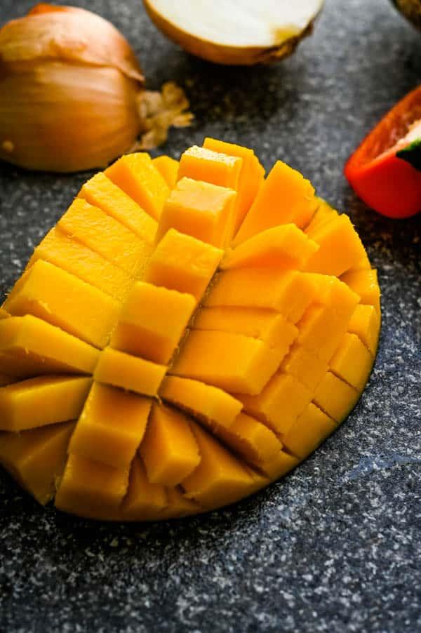 Fresh mango for the easy chutney recipe.