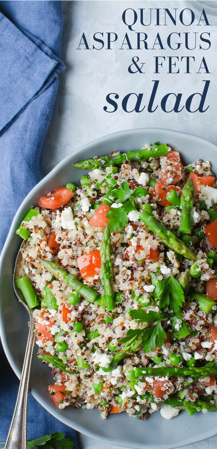 This easy whole grain salad recipe is healthy and filling. Quinoa Asparagus and Feta Salad makes a great vegetarian main course or side dish. #quinoa #asparagus #peas #lemon #lemondressing #feta #salad #quinoasalad #tomatoes #healthyside #healthyvegetarianlunch #vegetarian #vegetarianrecipes