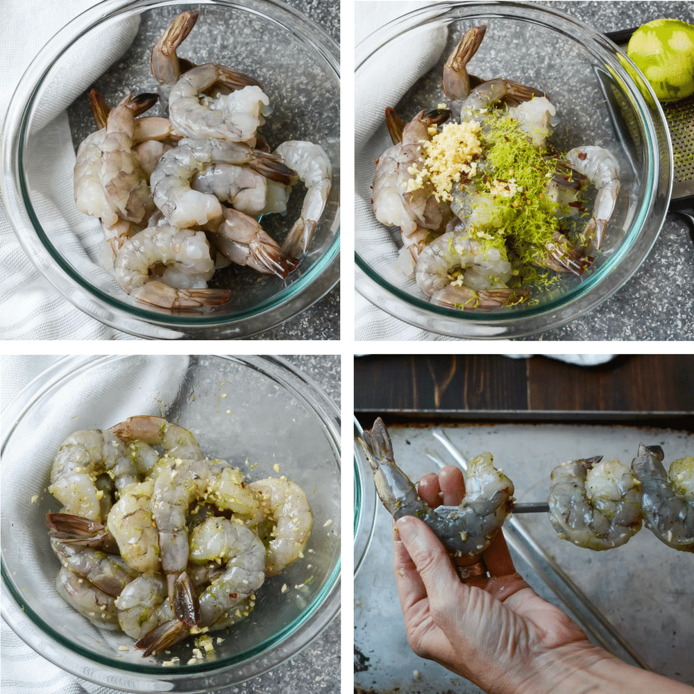 How to marinate and skewer shrimp.