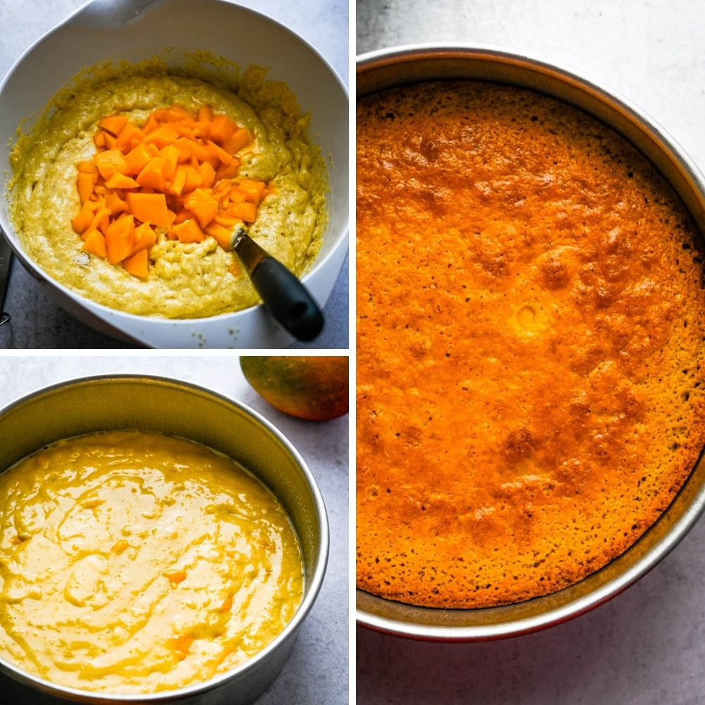 adding mango to cornmeal cake batter.