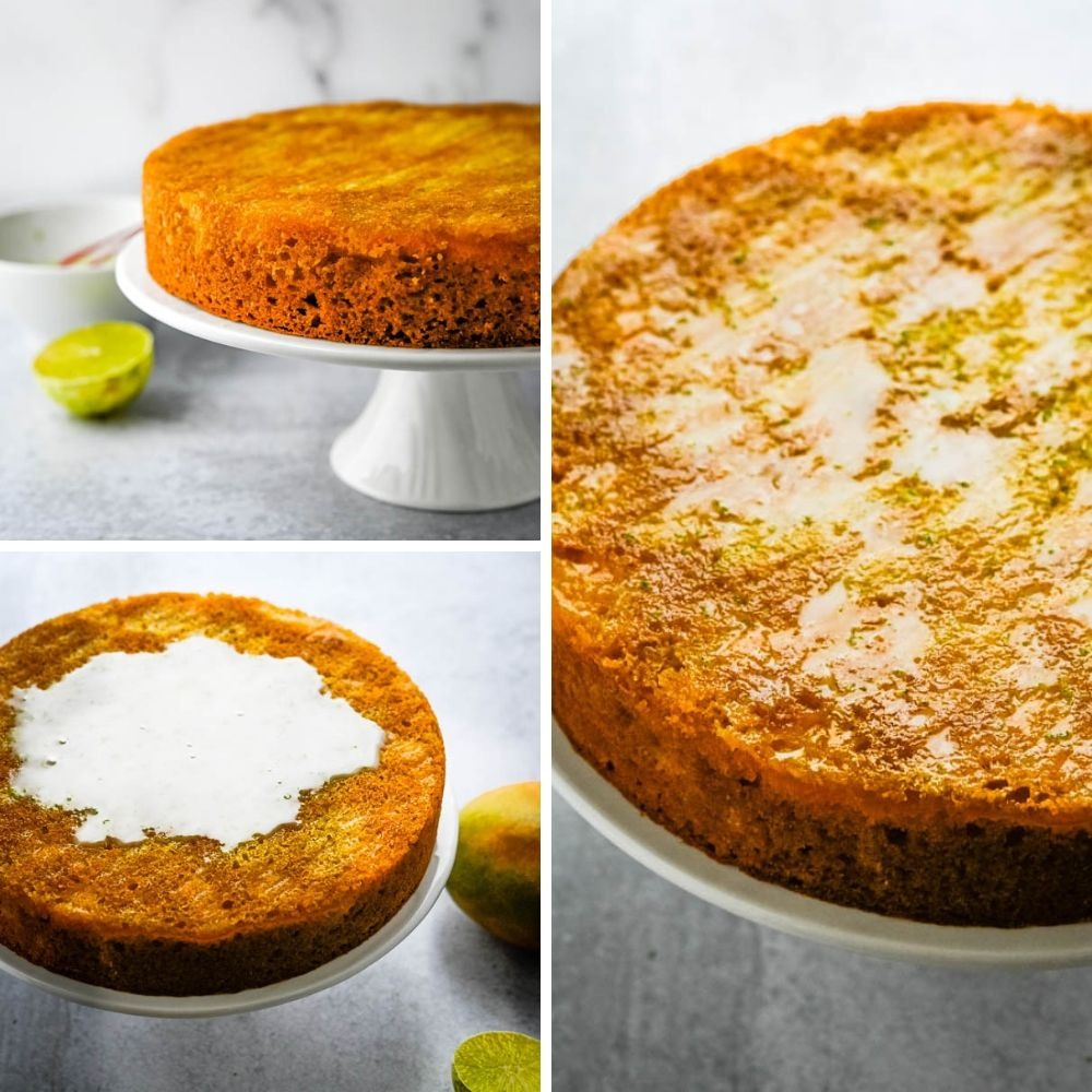 glazing mango lime cornmeal cake.