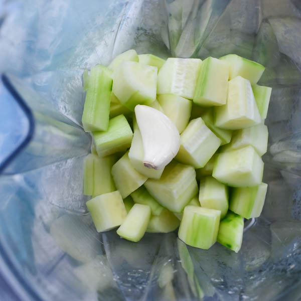 Cucumber and Garlic in the blender.