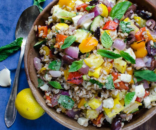 Grilled Vegetables with Feta and Farro