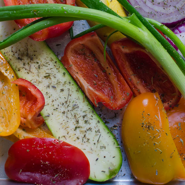 vegetables sprinkled with herbs