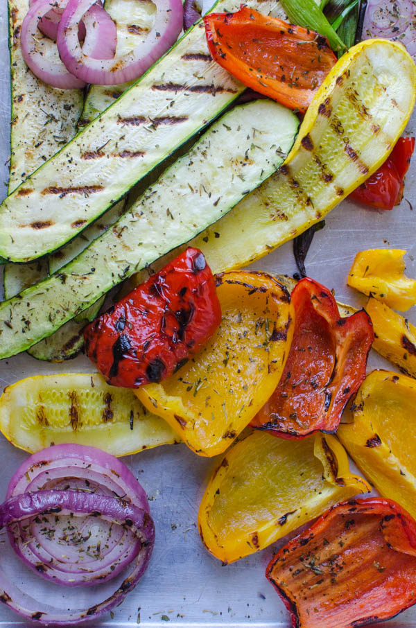 Grilled vegetables on a sheet pan