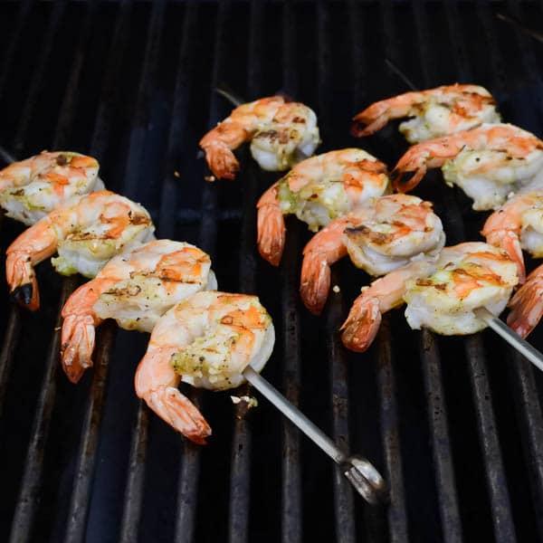 grilling shrimp kebabs