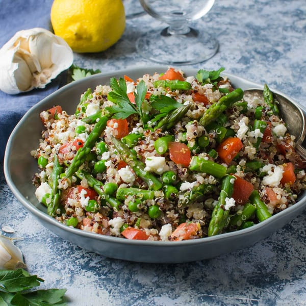 Quinoa Asparagus and Feta Salad