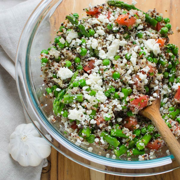 adding feta to salad