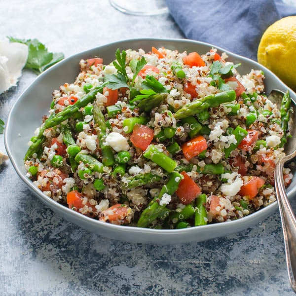 Quinoa Asparagus and Feta Salad with lemon