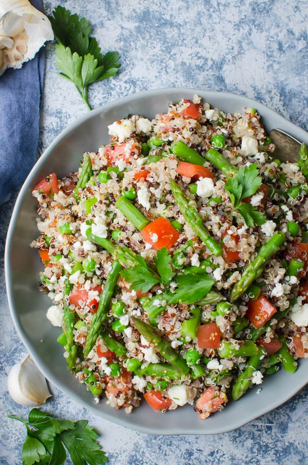 Quinoa Asparagus and Feta Salad with parsley and garlic