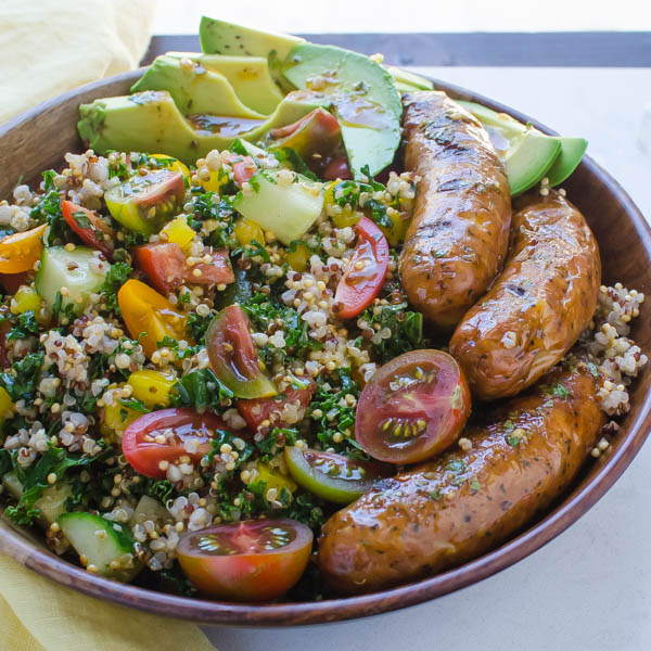 Spicy Sausage, Tomato and Avocado Salad