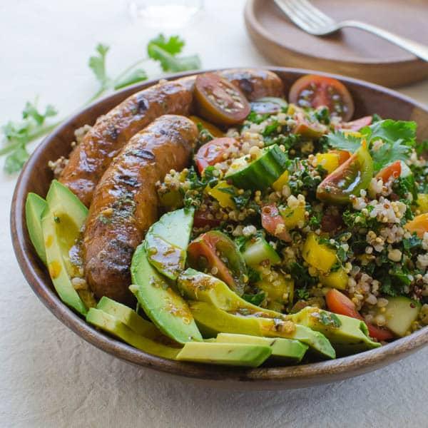Spicy Sausage, Tomato and Avocado Salad