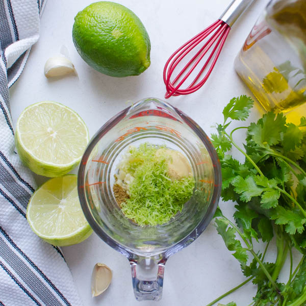 limes, garlic, cilantro, cup and whisk.